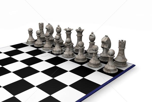 Sakkfigurák 3d render háttér sakk kastély verekedés Stock fotó © kjpargeter