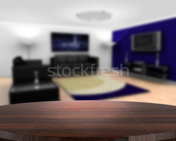 Wooden table with defocussed contemporary lounge Stock photo © kjpargeter