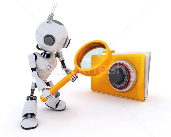 Robot searching files Stock photo © kjpargeter