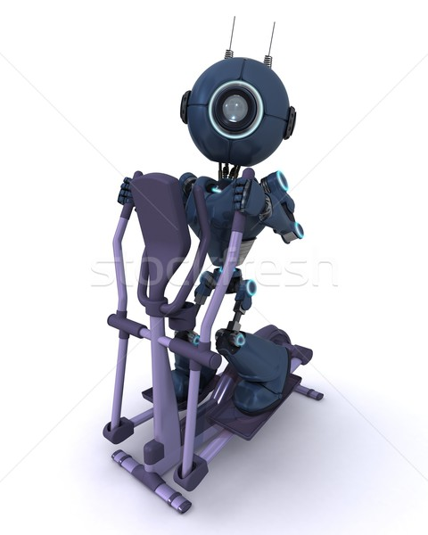Andriod at the gym on a cross trainer Stock photo © kjpargeter
