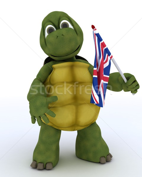 Tortoise with Union Jack Flag Stock photo © kjpargeter