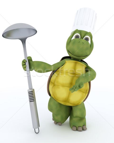 Teknősbéka szakács merőkanál 3d render víz kagyló Stock fotó © kjpargeter