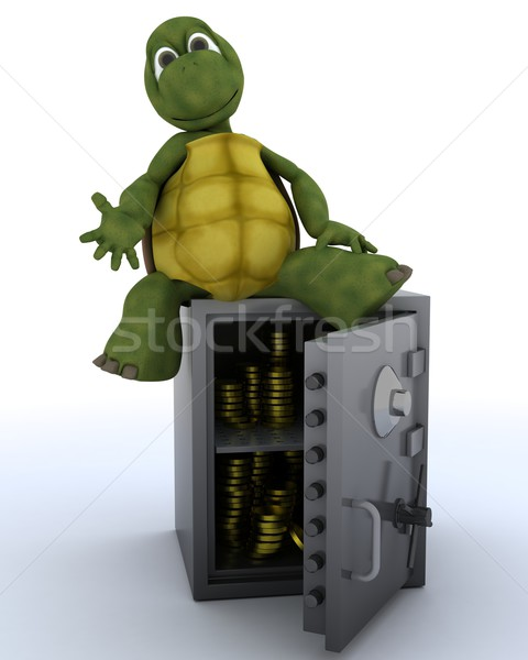 tortoise sat on a safe Stock photo © kjpargeter