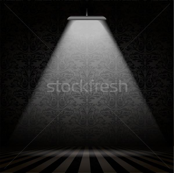 Interieur spotlight donkere damast behang kamer Stockfoto © kjpargeter