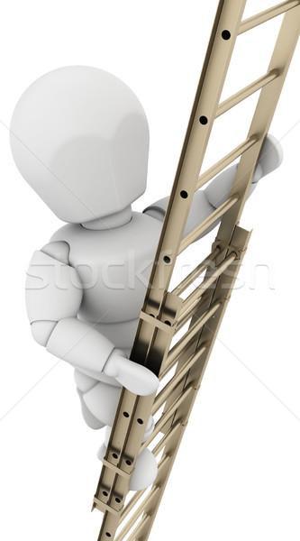 man climbing a ladder to achieve success Stock photo © kjpargeter