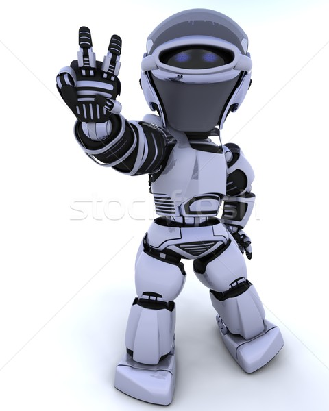 Photo stock: Cute · robot · cyborg · rendu · 3d · paix