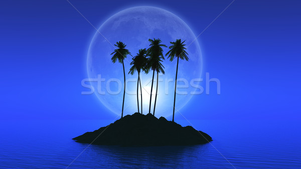 Palm tree island with fictional moon Stock photo © kjpargeter