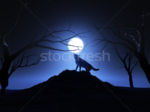 3D render of a wolf howling at the moon Stock photo © kjpargeter