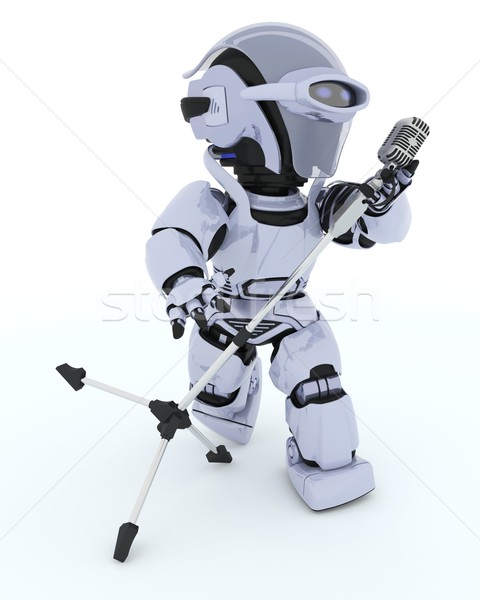 Robot singing into a retro Mic Stock photo © kjpargeter