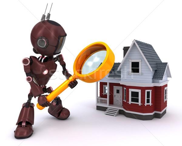 Andróide casa 3d render internet homem Foto stock © kjpargeter