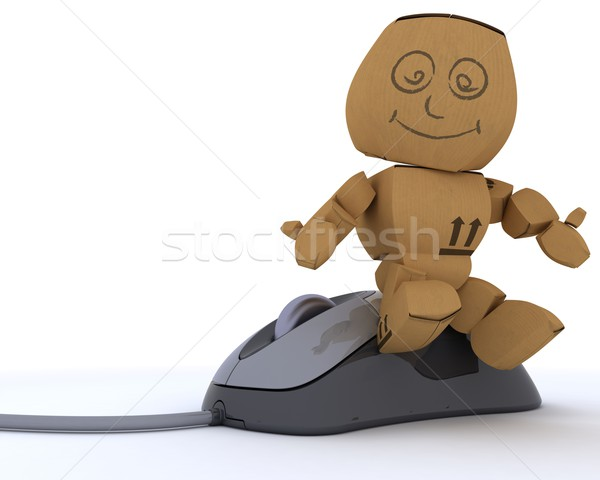 Cardboard Box figure with computer mouse Stock photo © kjpargeter