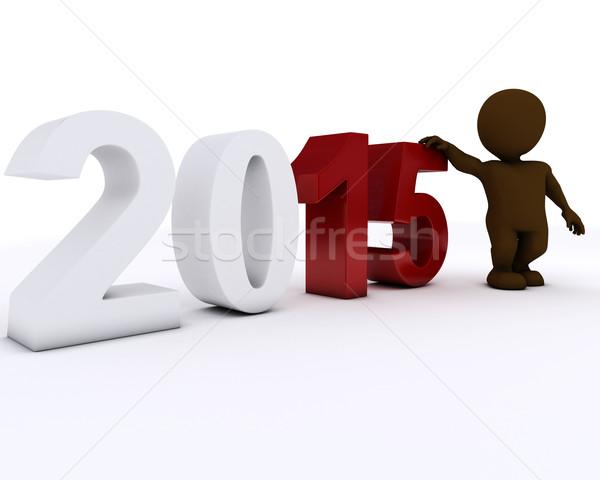 3D Morph Man happy new year Stock photo © kjpargeter