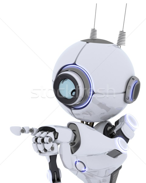 Robot pointant espace rendu 3d homme avenir Photo stock © kjpargeter