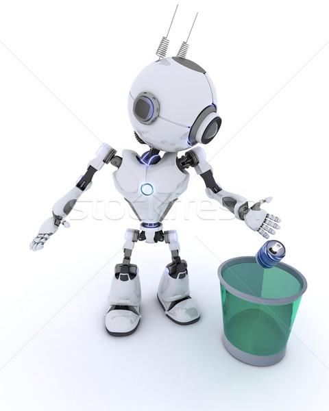 Robot riciclaggio rifiuti rendering 3d uomo futuro Foto d'archivio © kjpargeter