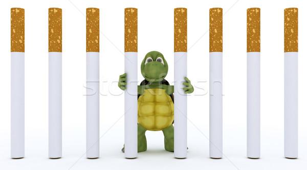 Teknősbéka cigaretta börtön 3d render víz kagyló Stock fotó © kjpargeter