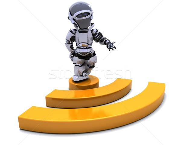 Robot with RSS symbol Stock photo © kjpargeter