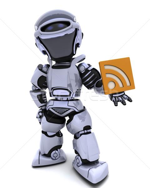 Robot rss symbool 3d render internet teken Stockfoto © kjpargeter