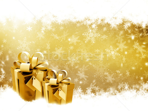 Stock photo: Golden Christmas gifts