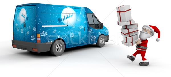 Karácsony kisteherautó 3d render mikulás házhozszállítás furgon Stock fotó © kjpargeter