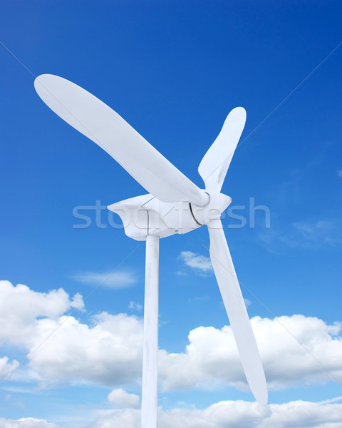 Stockfoto: Windturbine · 3d · render · windpark · turbine · wolken · landschap
