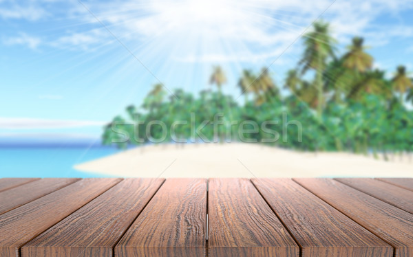 3D mesa de madeira olhando fora mar Foto stock © kjpargeter