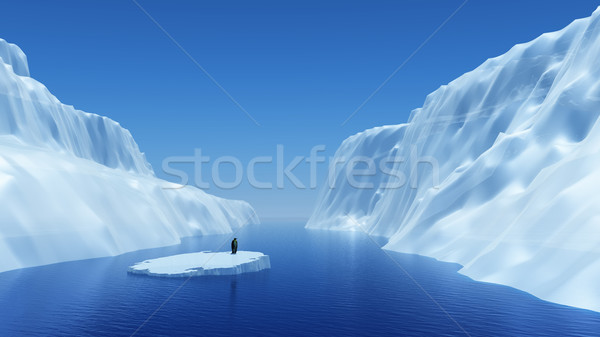 Pingouin iceberg rendu 3d ciel mer Photo stock © kjpargeter
