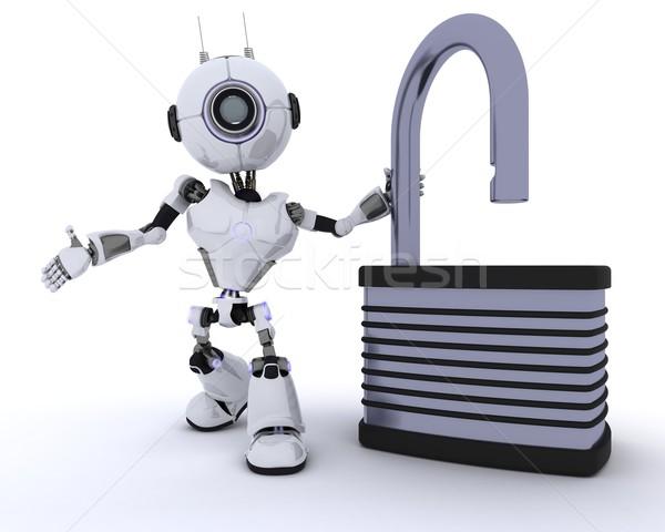 Robot with padlock Stock photo © kjpargeter