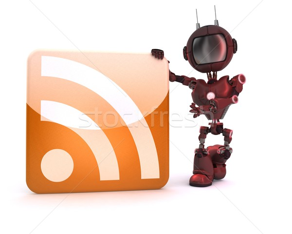 Android rss symbool 3d render Stockfoto © kjpargeter