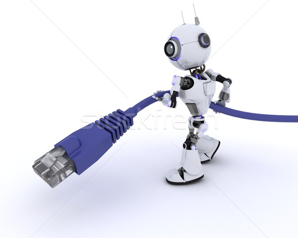 Robot with an RJ45 data cable Stock photo © kjpargeter