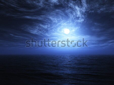 3D render of moon and sea background Stock photo © kjpargeter
