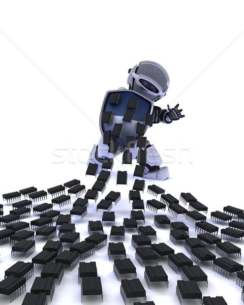 Robot defending against virus attack Stock photo © kjpargeter