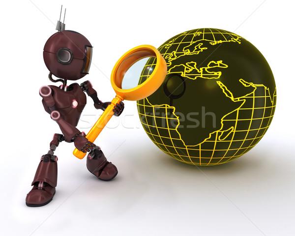 Android zoeken vergrootglas 3d render vergrootglas man Stockfoto © kjpargeter