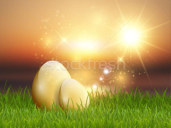 Golden Easter eggs in grass Stock photo © kjpargeter