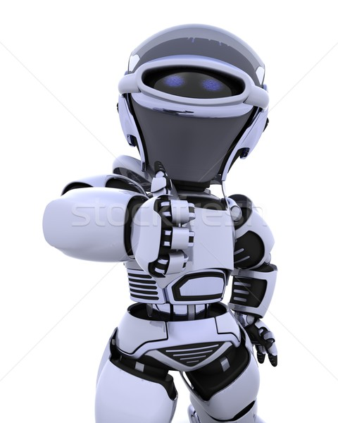 Cute robot cyborg rendu 3d avenir modernes Photo stock © kjpargeter