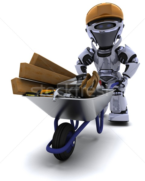Robot builder with a wheel barrow carrying tools Stock photo © kjpargeter