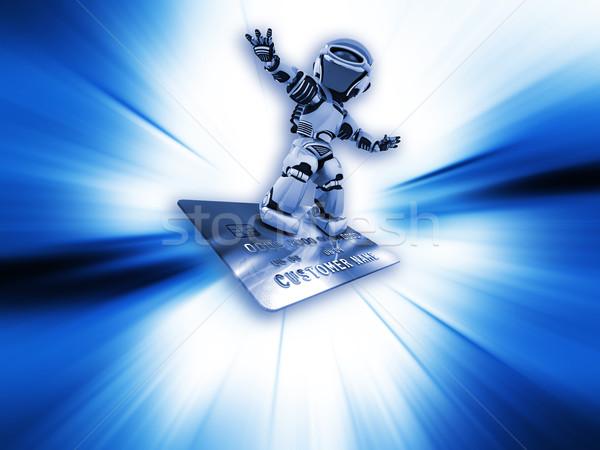 Robot on credit card Stock photo © kjpargeter