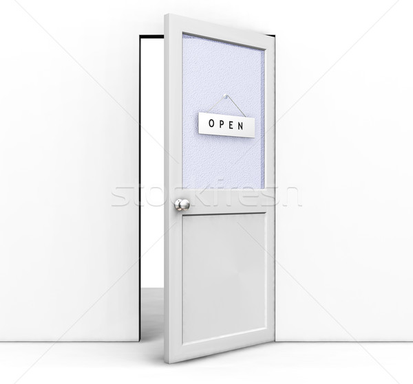 Nyitott ajtó 3d render nyitva tábla fal belső ötlet Stock fotó © kjpargeter