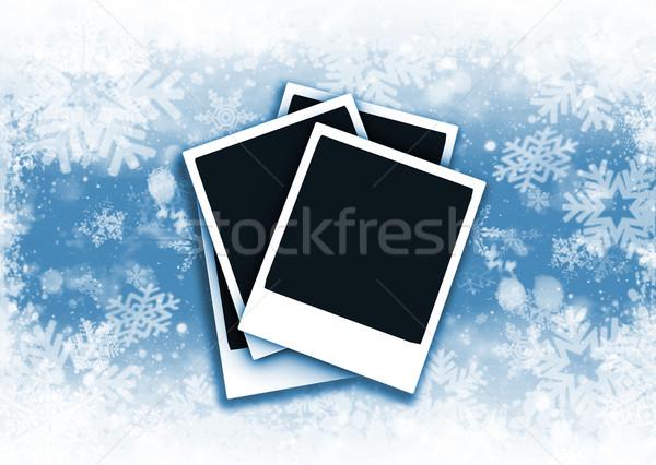 снежинка аннотация снега фон цифровой Polaroid Сток-фото © kjpargeter