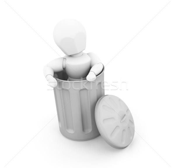 человек мусорное ведро 3d визуализации кто-то женщину человека Сток-фото © kjpargeter