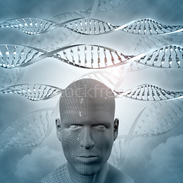 3D medical background with DNA strands and male face Stock photo © kjpargeter