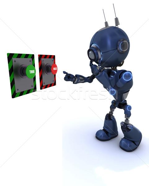 アンドロイド ボタン 3dのレンダリング ストックフォト © kjpargeter
