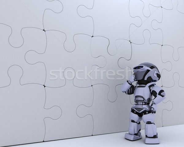 Robot with jigsaw puzzle business metaphor Stock photo © kjpargeter