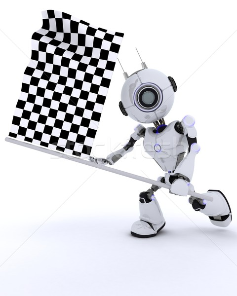 Robot with chequered flag Stock photo © kjpargeter