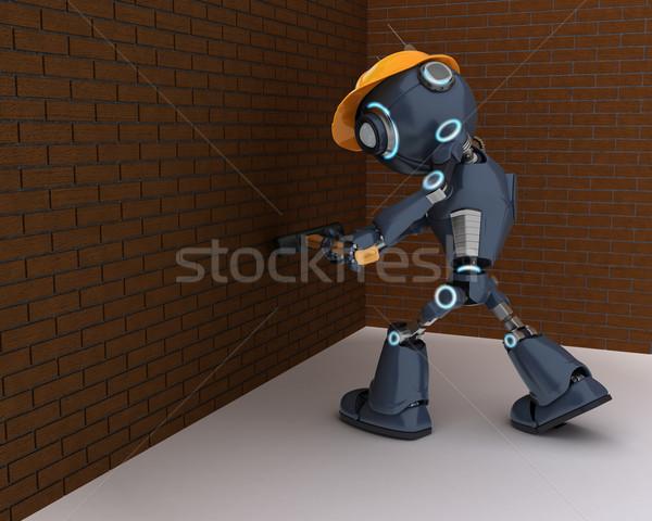 Android budowniczy 3d człowiek budowy młotek Zdjęcia stock © kjpargeter