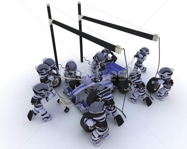 Race auto stoppen 3d render robot toekomst race Stockfoto © kjpargeter