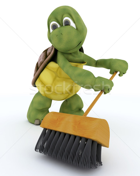 tortoise sweeping with a brush Stock photo © kjpargeter