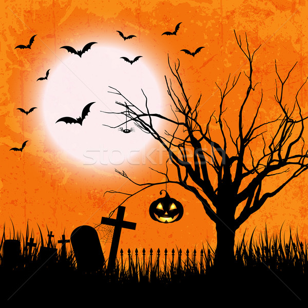 Grunge halloween stílus lámpás bagoly fa Stock fotó © kjpargeter