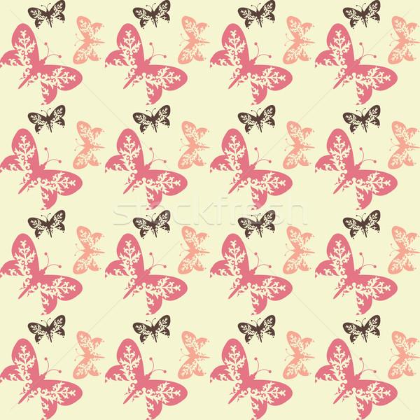 Seamless tile butterfly background  Stock photo © kjpargeter