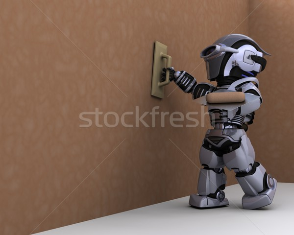 robot contractor plastering a drywall Stock photo © kjpargeter