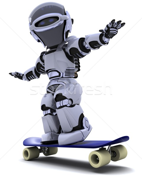 Robot with skateboard Stock photo © kjpargeter